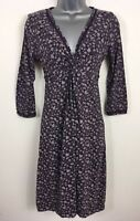 WOMENS FAT FACE PURPLE FLORAL 3/4 SLEEVE DEEP V-NECK TWIST FITTED DRESS UK 6