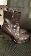 Ann Demeulemeester Preowned High Wedge Brown Mid Calf Boots Sz 42 US 11 - 11.5