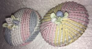 2 Blue Pink Yellow Pastel Ring Boxes Jewelry Trinket Small