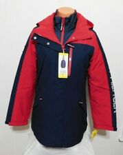 Tommy Hilfiger Womens 3in1 Blue RED Winter Coat with Hood Parka Size SMALL