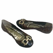Marc Fisher Womens 'Charles' Leopard & Black Ballet Flats Sz 5.5M Gold Buckle