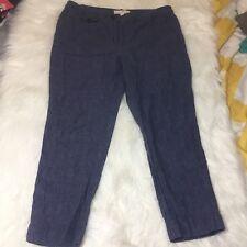Ann Taylor LOFT Size 10 Trouser Style Career Work Pants Blue Linen Marisa