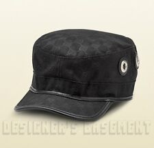 GUCCI black-on-black L GG canvas Grommets Horsebit buckle MILITARY hat NWT  Auth 73df6165cff