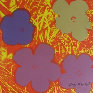 ANDY WARHOL POPPY FLOWERS 1986 HAND NUMBERED 1533/2400 SIGNED LITHOGRAPH