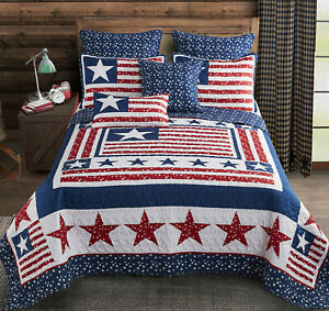 PATRIOTIC 3pc King ** QUILT SET : AMERICAN FLAG RED WHITE BLUE STAR BEDDING