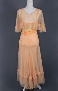 VTG Women's 30s Light Orange / Peach Mesh Maxi Dress Sz M 1930s