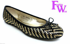 New JIMMY CHOO WALSH Woven Size 6 Black Gold Ballet Flats 36 Shoes $625