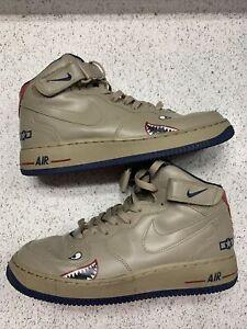 "Nike Air Force One AF1 Mid "" Tuskegee Airmen "" Khaki Mid Navy SZ 9.5 306352 221"