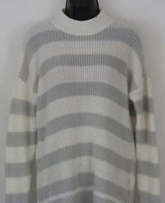 Lauren Conrad Striped Gray White Sweater Pullover Size L Large NWT