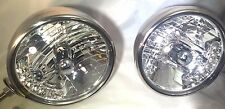 """Pair Dietz 7"""" Stainless HeadLight Lamp Buckets Assembly Crystal Bulb Amber LED"""