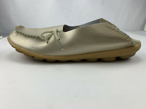 """Womens Faux Leather Shoes Flat Beige Gold Size 43 (10) Runs Smaller 10"""" US 9.5"""