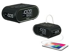 iHome LCD Triple Display Alarm Clock With Dual USB Charging and Battery Backup
