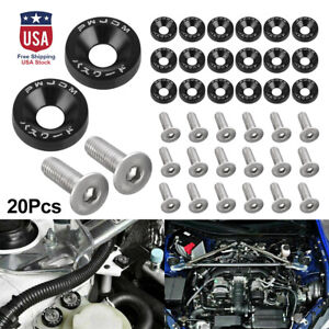 20PC JDM Billet Aluminum Fender Bumper Washer Bolt Engine Bay Dress Up Kit Black