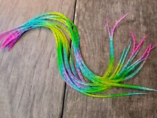 Dun Grizzly eurohackle feather extensions tie dye fiesta rainbow beads XXL
