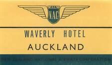 NAC NEW ZEALAND NATIONAL AIRWAYS WAVERLY HOTEL AUKLAND VINTAGE LUGGAGE LABEL