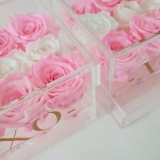 3 Year preserved African prink eternity rose box acrylic drawer
