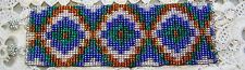 """New~Woven Glass Seed Bead Bracelet, 2"""" Wide, Southwest Diamond Cross, #753"""