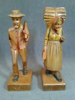 Vintage Hand Carved Wood Figures Old Man & Woman Folk Art Figurines