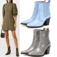 Western-style Alligator Pattern Chunky Heel Ankle Chelsea Boots Women Pull On SZ