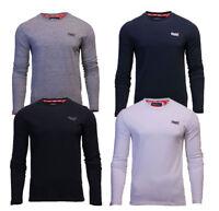 Superdry Mens Orange Label Embroidery T Shirt Long Sleeve Black Navy White Grey