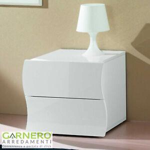Comodino SEA Gihome ® 2 cassetti bianco lucido design curvo a onda moderno