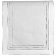 Table Runner White Pure Linen Cloth Gilucci and Hemstitch Borders 16 X 45 Inch