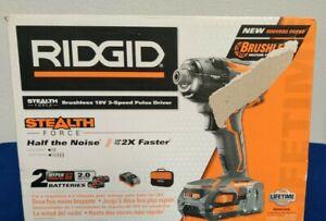 RIDGID 18 VOLT BRUSHLESS STEALTH IMPACT +2 BATTERIES & CHARGER R86036 Kit