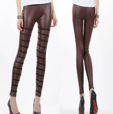 Sz XS S 6 8 10 Brown Black Spliced Funky Leggings Tight Pants Sexy Dance Fashion
