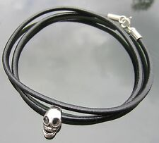 Black Genuine Leather Mens Bracelet or Necklace with Skull 925 Silver