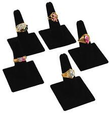 5 Single Finger Black Velvet Showcase Ring Displays
