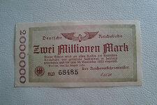 Deutsche Reichsbahn Berlin 2 Millionen Mark 1923 Erhaltung f. kassenfrisch (3389