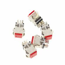 5pcs Red 8 Pin 17.2mm Mounting Hole Maintained Push Button Switch Without Light