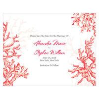 48 Coral Reef Beach Printed Wedding Save Date Cards