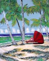CABANA PALM BEACH Original PAINTING Artist DAN BYL Acrylic Huge 60 inches x 48