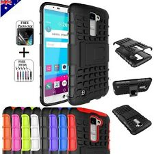 For LG K10 Heavy Duty Tough Kickstand Strong Case Cover + FREE Screen Protector