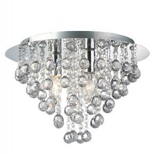 Modern Round Flush Fitting 3 Bulb Chrome Ceiling Light Raindrop Crystal Droplets