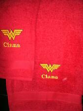 Personalized Wonder Woman Logo 2 Piece Bath Towel Set  Your Color Choice
