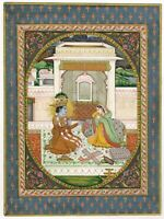 Handmade Krishna Radha Painting Of Kangra Art School Real Gold & Gouache Artwork