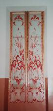 magnifique paire de rideaux broderie cornely date 1900 art nouveau floral oiseau