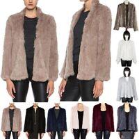 New Top Women 100% Real Farm Knit Rabbit Fur Cardigan Coat Jacket Warm Elegant