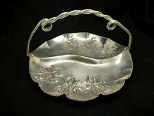 VINTAGE DIVIDED ALUMINUM RELISH TRAY W/HANDLE EMBOSSED FLORAL DESIGN