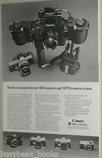 1971 CANON Camera advertisement, Canon F-1 showing many accessories, lenses
