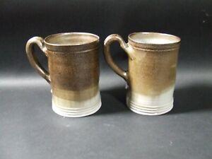 Pair - Williamsburg Restoration Pottery Mug Mugs Salt glaze glazed Stoneware