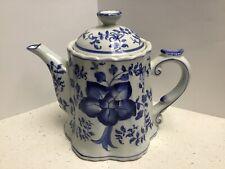 Beautiful Vintage Andrea by Sadek Blue And White Ceramic Mum Teapot Water Pot