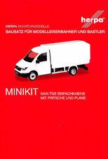 HERPA MiniKit 1:87 MAN TGE Einfachkabine mit Pritsche/Plane weiß Bausatz #013451