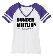 Ladies Dunder Mifflin A Paper Company Funny Tv Show Shirt Game V-Neck Tee Office