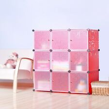 DIY Home Storage Cube Cabinet for Clothes, Shoes, Bags, Office, Red (9) Cubitbox