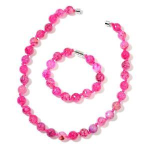 "Fuchsia Agate Beads Silvertone Bracelet (7.5"") & Necklace (18"") Magnetic #JN1010"