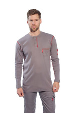 BIZLAME FR HENLEY SHIRT LS GRAY SIZE S-6XL FR02 ARC2 MOISTURE WICKING 1 POCKET