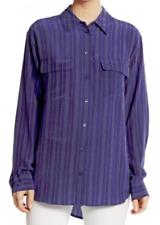 Equipment Signature Striped Silk Blouse Ultra Marine NWT $268